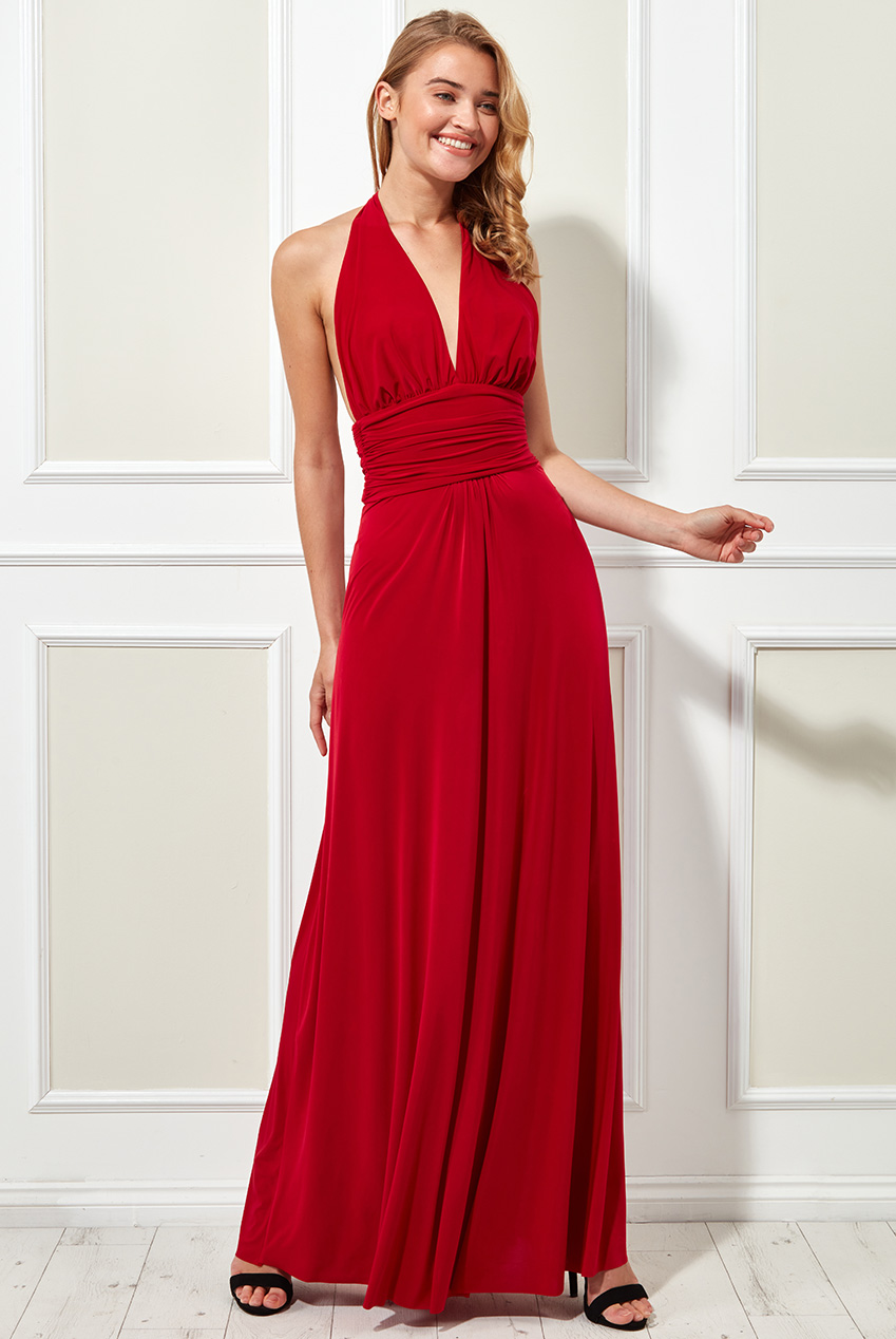 Wholesale Plunge Neckline Maxi Dress With Open Back