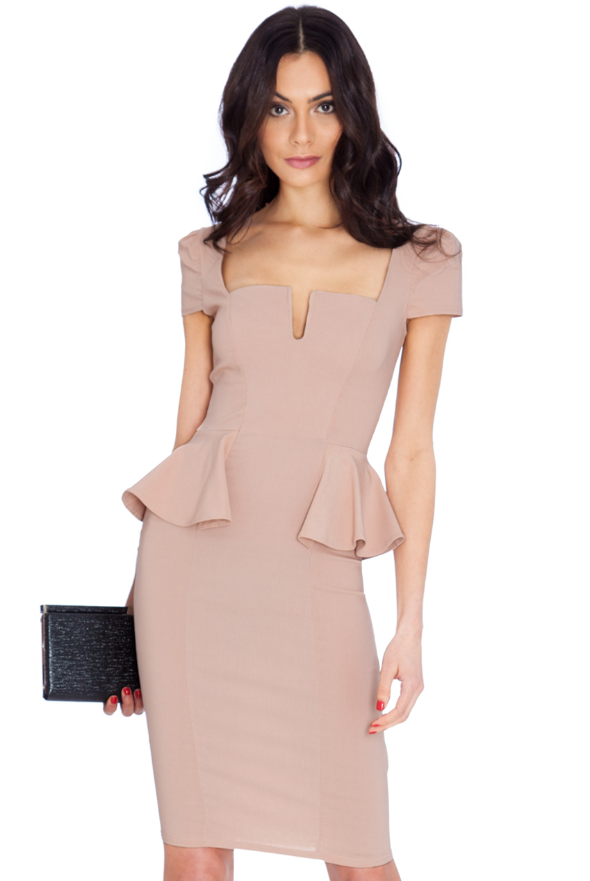 Wholesale Deep Neckline Side Peplum Short Sleeve Midi Dress