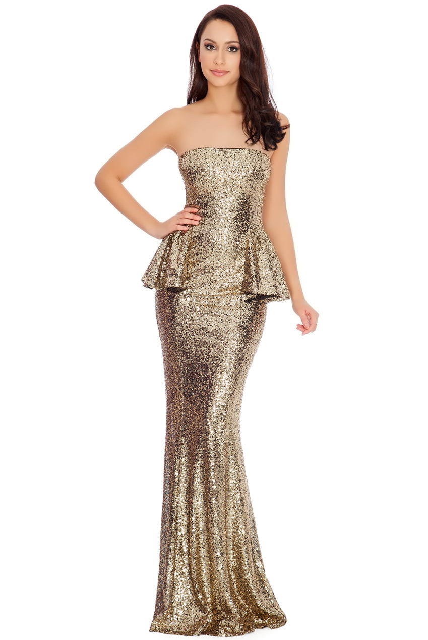 Wholesale Strapless Sequin and Peplum Maxi Dress in the Style of Jennifer Lawrence