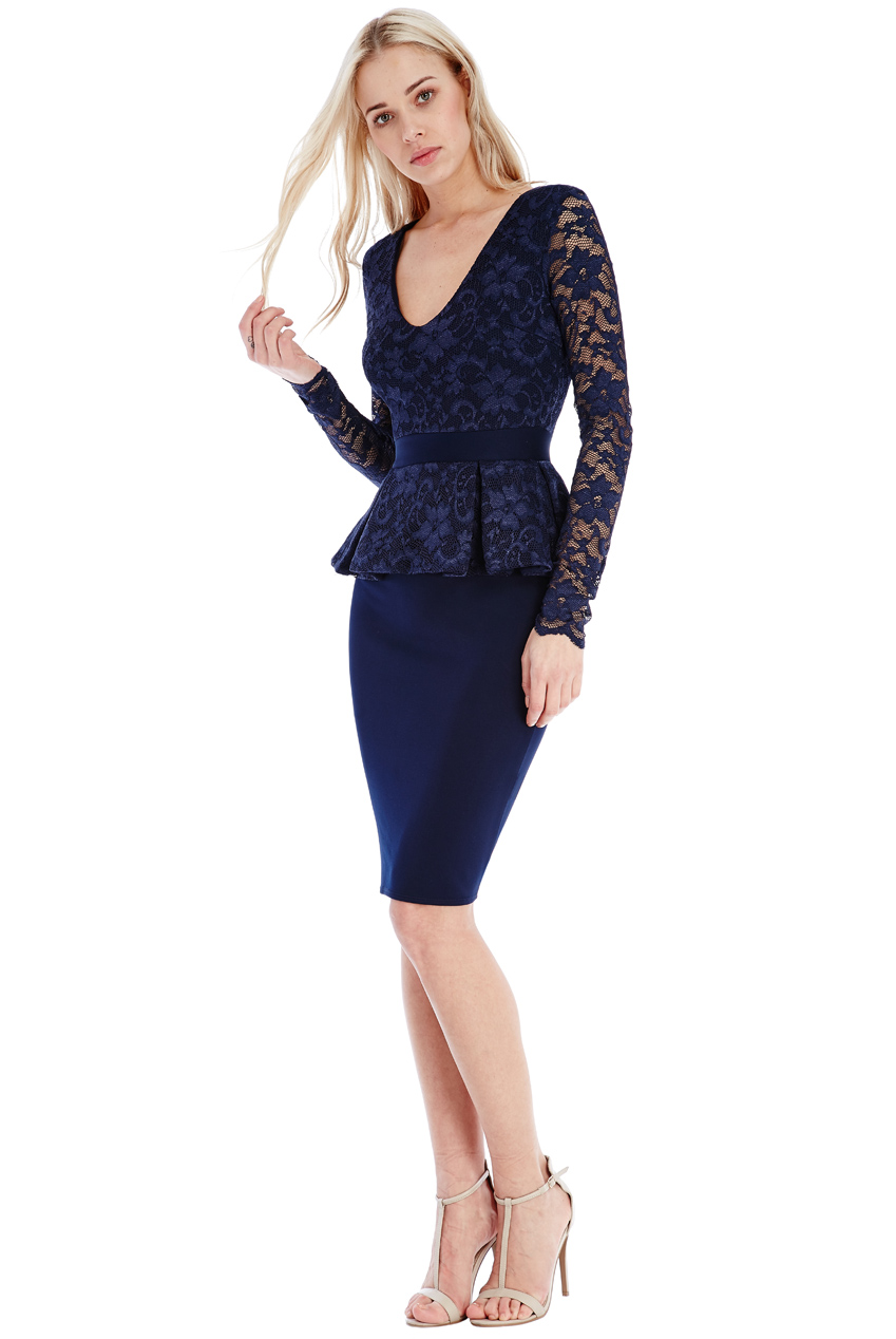 Wholesale Deep V Neck Peplum Midi Dress