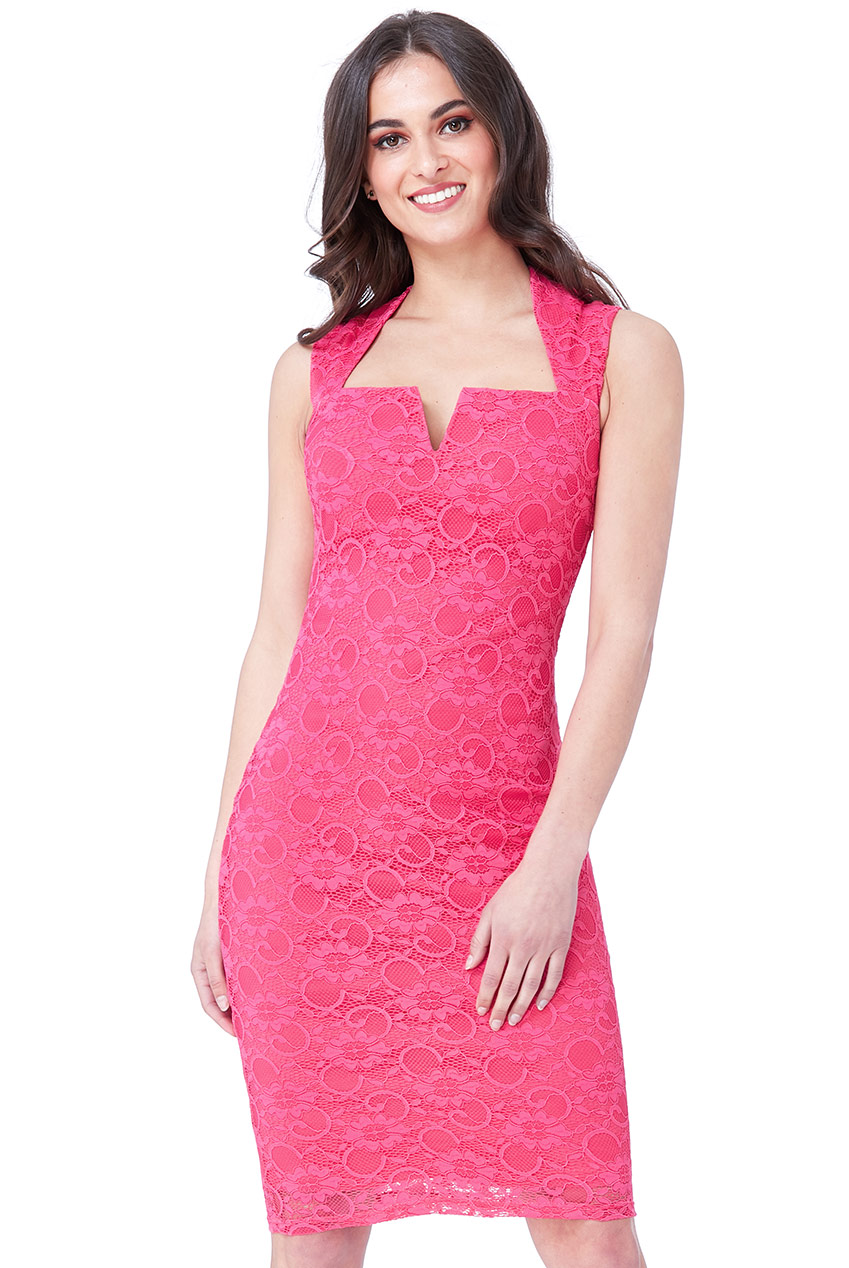 Wholesale V-Cut Detail Cup Sleeved Lace Dress