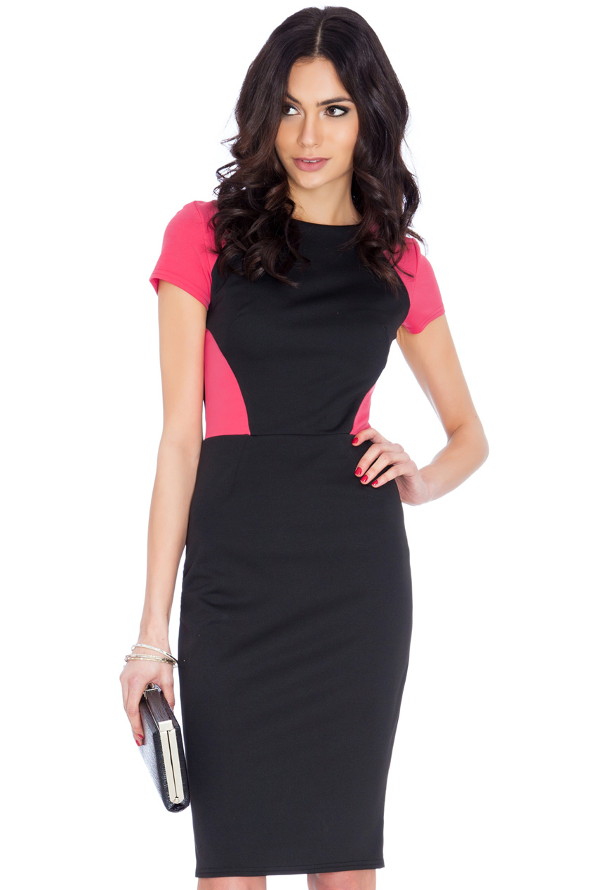 Wholesale Contrast Short Sleeve Midi Dress