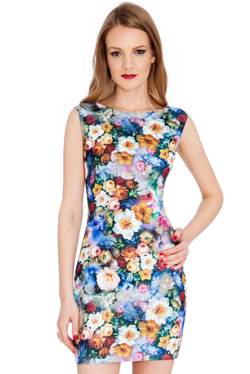 Wholesale Floral Print Stretch Jacquard Mini Dress