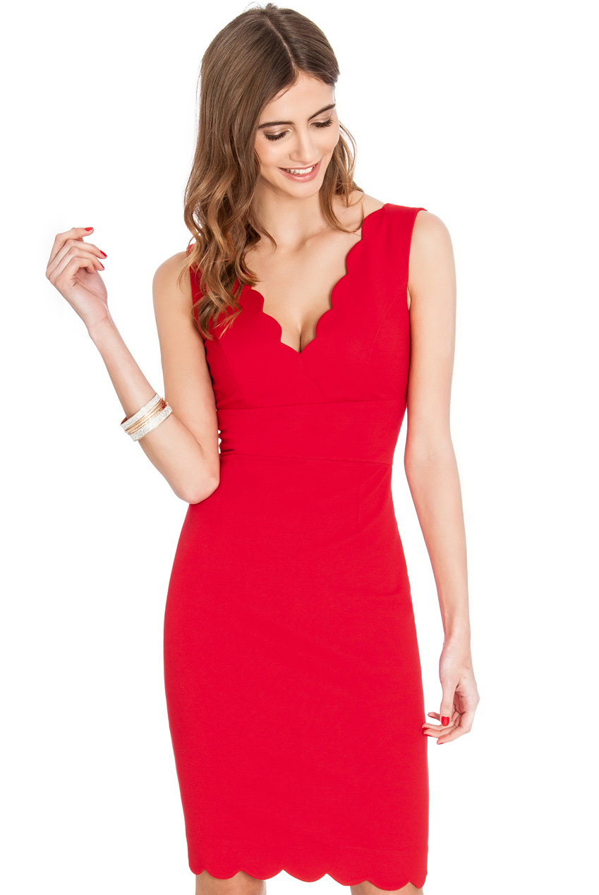 Wholesale Scalloped V Neckline and Hem Sleeveless Midi Dress