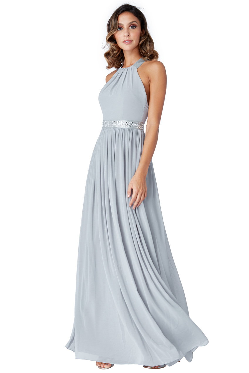 Wholesale Halter Neck Chiffon Maxi Dress