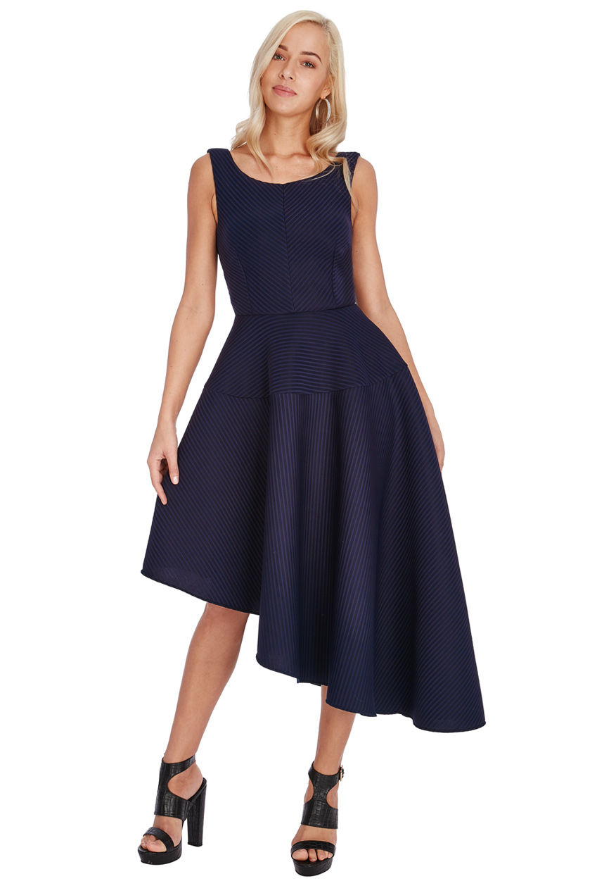 Wholesale Asymmetric Textured Midi Dress