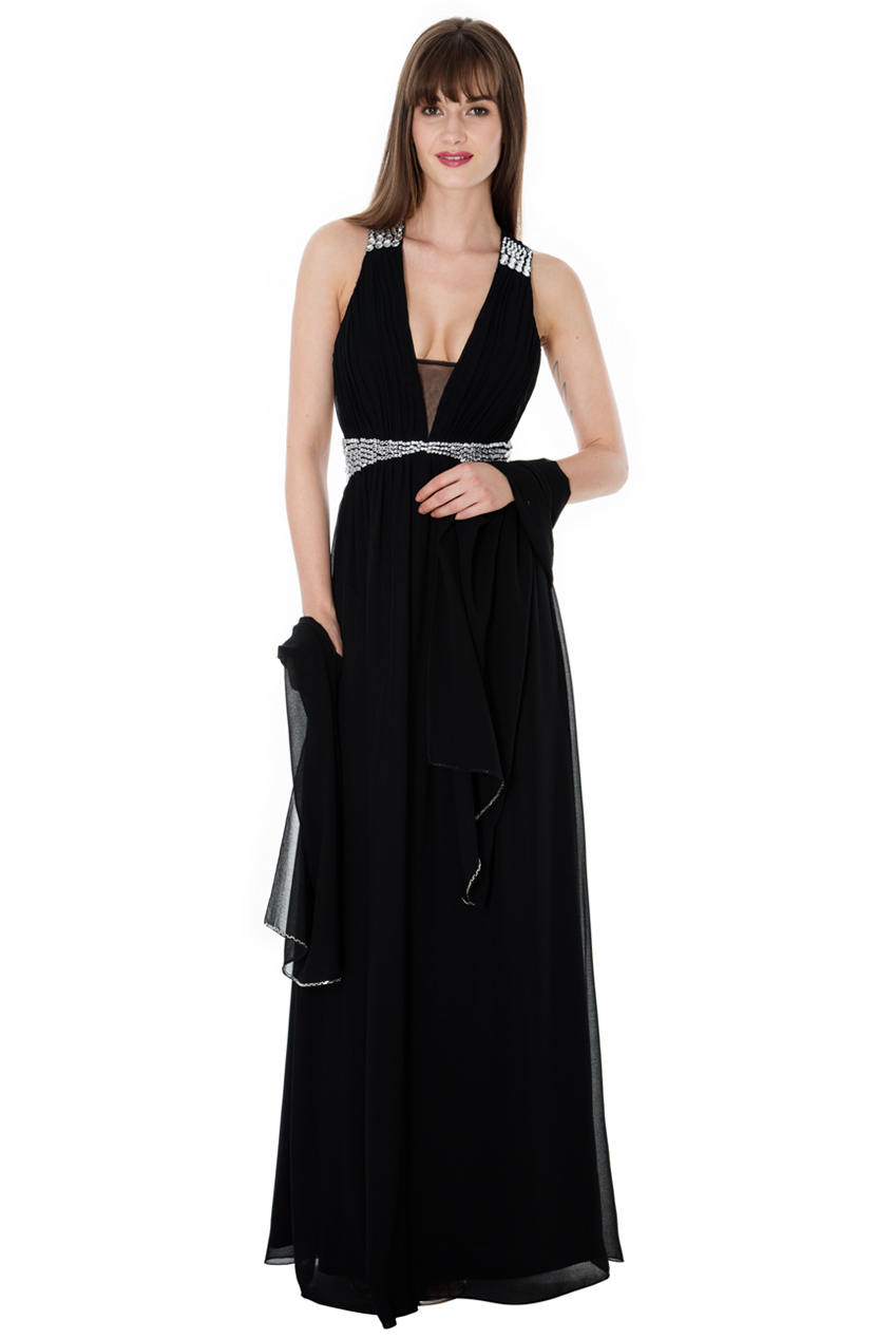Wholesale Crystal Embellished Chiffon Maxi Dress with Scarf