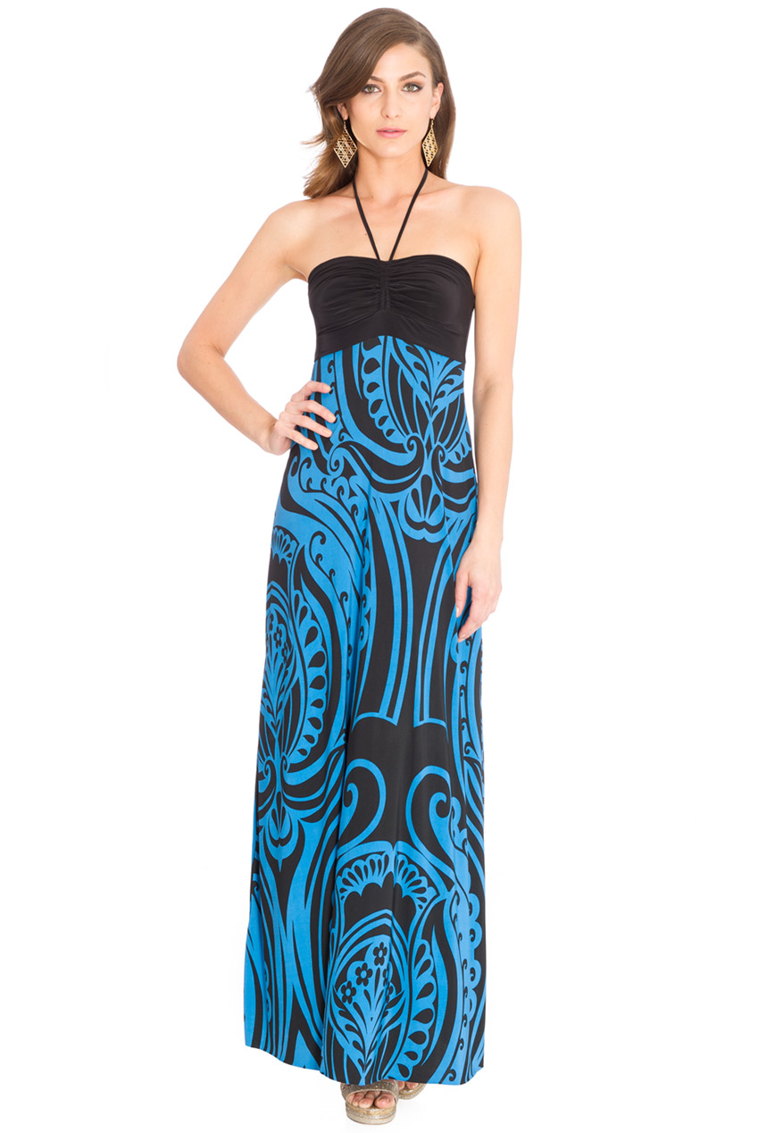 Wholesale Halter Neck Print Maxi Dress