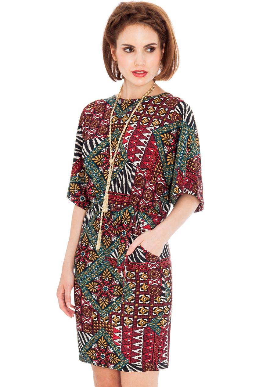 Wholesale Tribal Casual Dress with a Tie