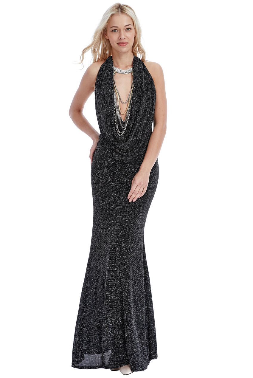 Wholesale Glitter Cowl Neck Maxi Dress