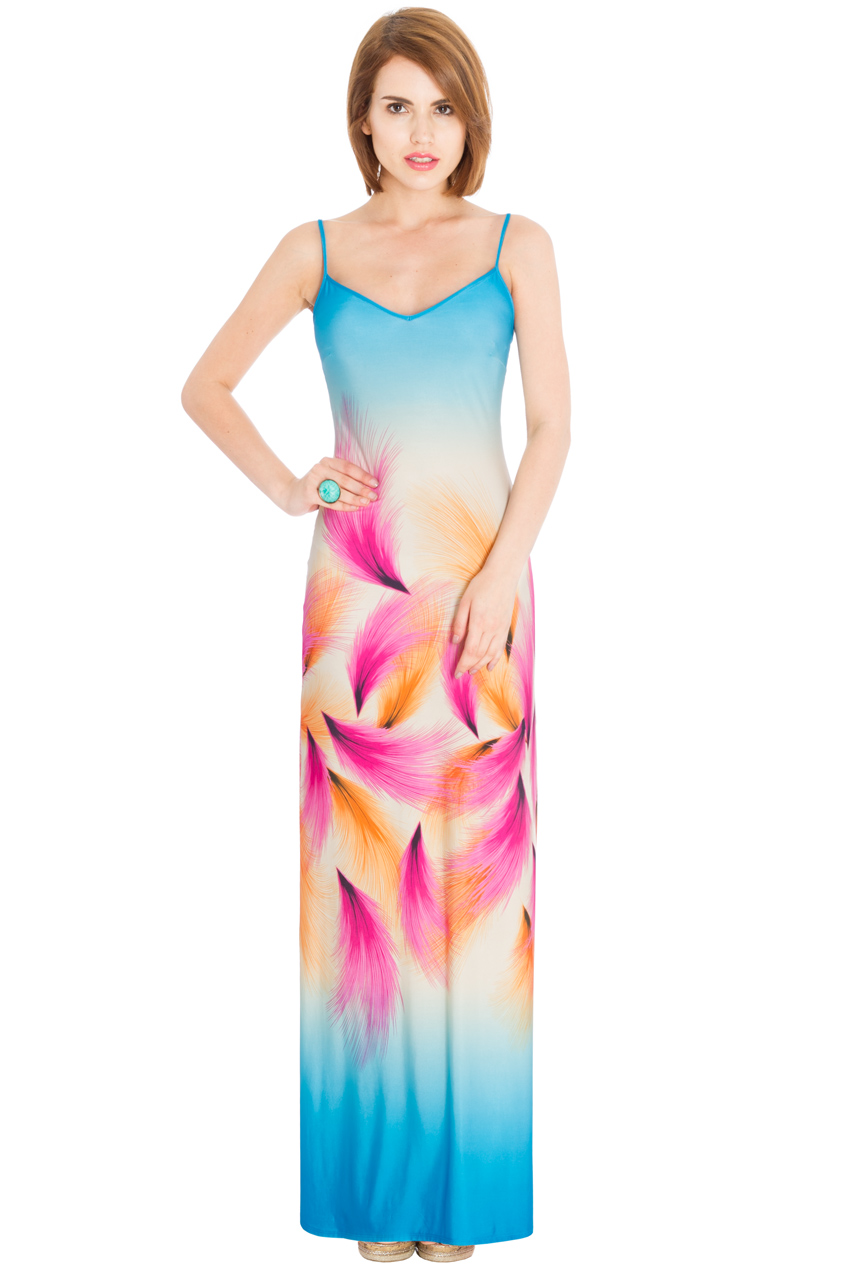 Wholesale Feather Print Maxi Dress