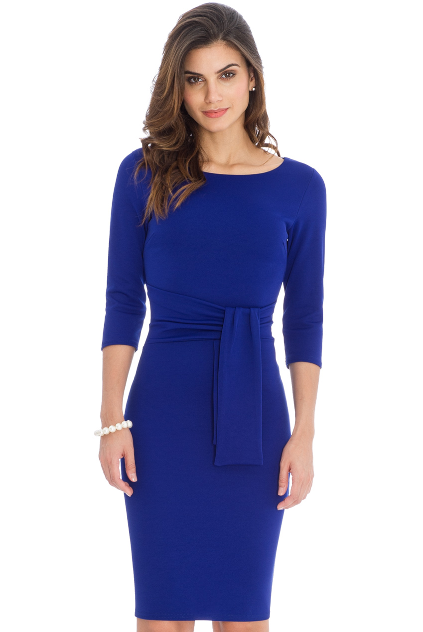 Wholesale Pencil Dress with a Tie Detail