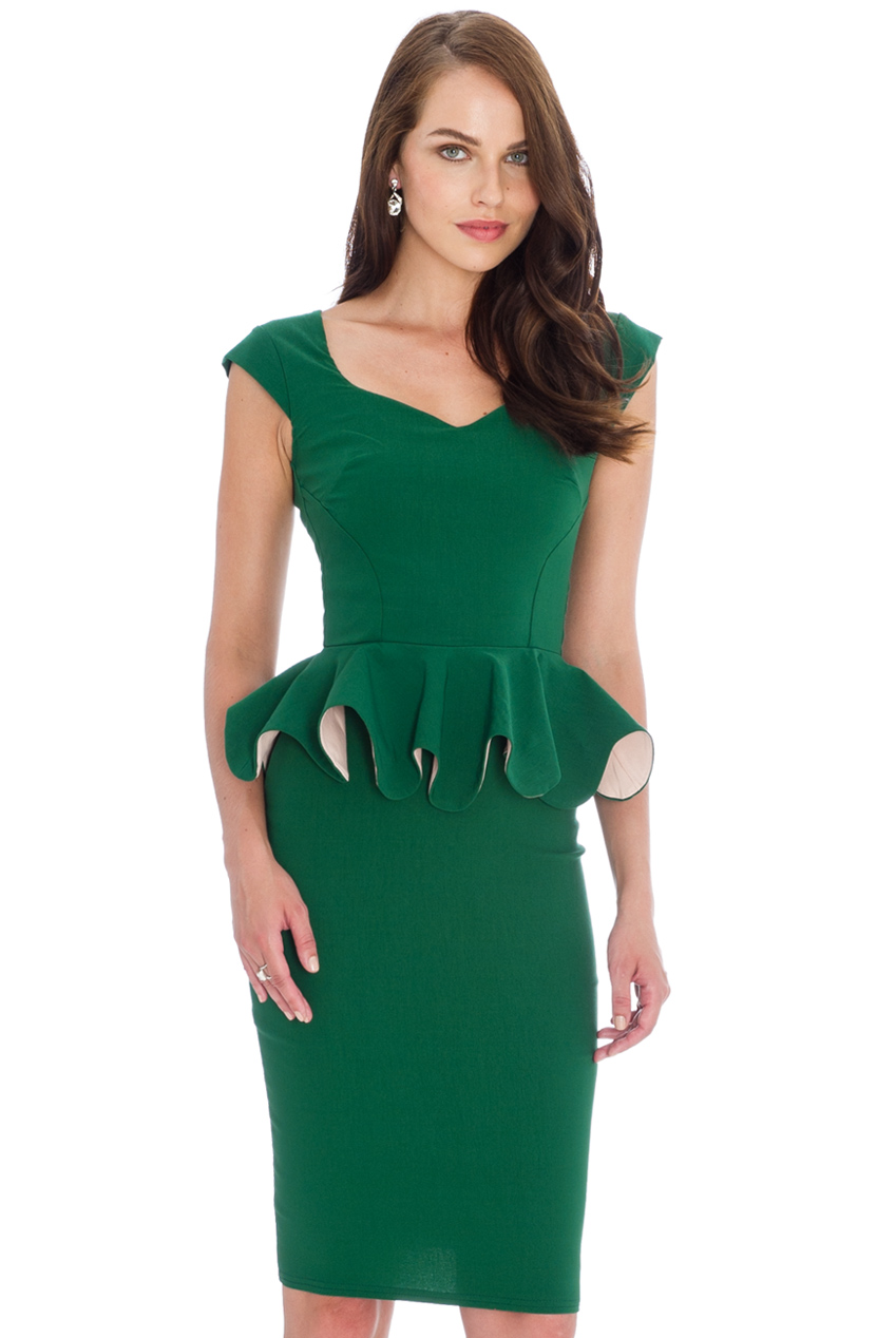 Wholesale Frill Peplum Pencil Dress
