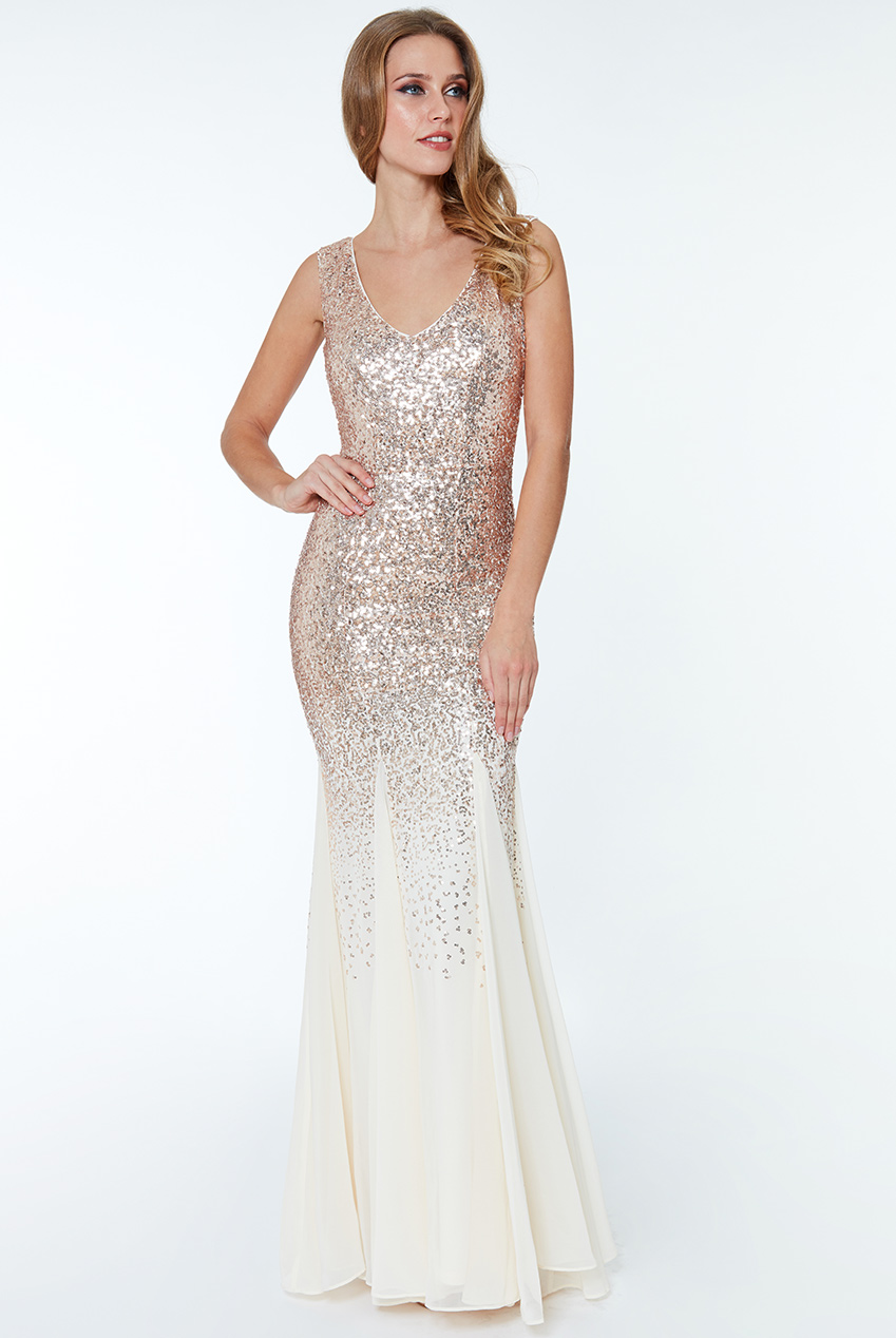 Wholesale Sequin and Chiffon Maxi Dress