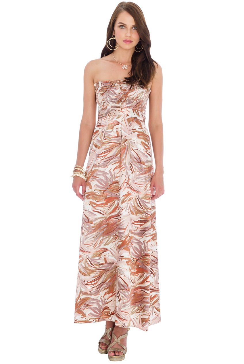 Wholesale Strapless Print Maxi Dress