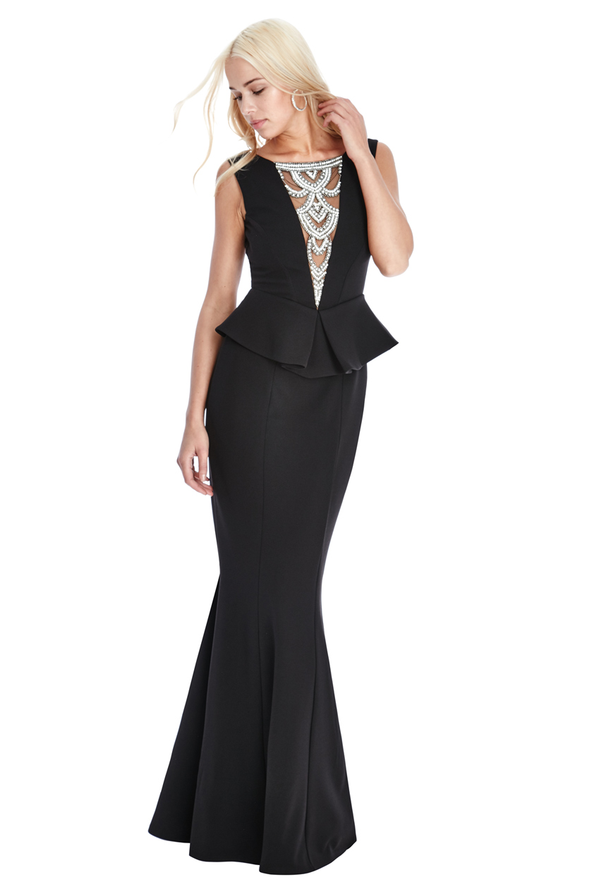 Wholesale Embellished Neckline Maxi Dress