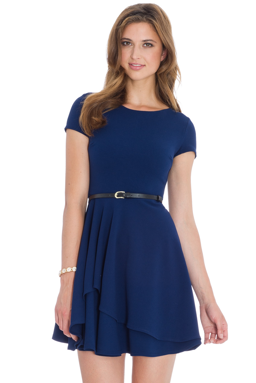 Wholesale Skater Dress with a Belt