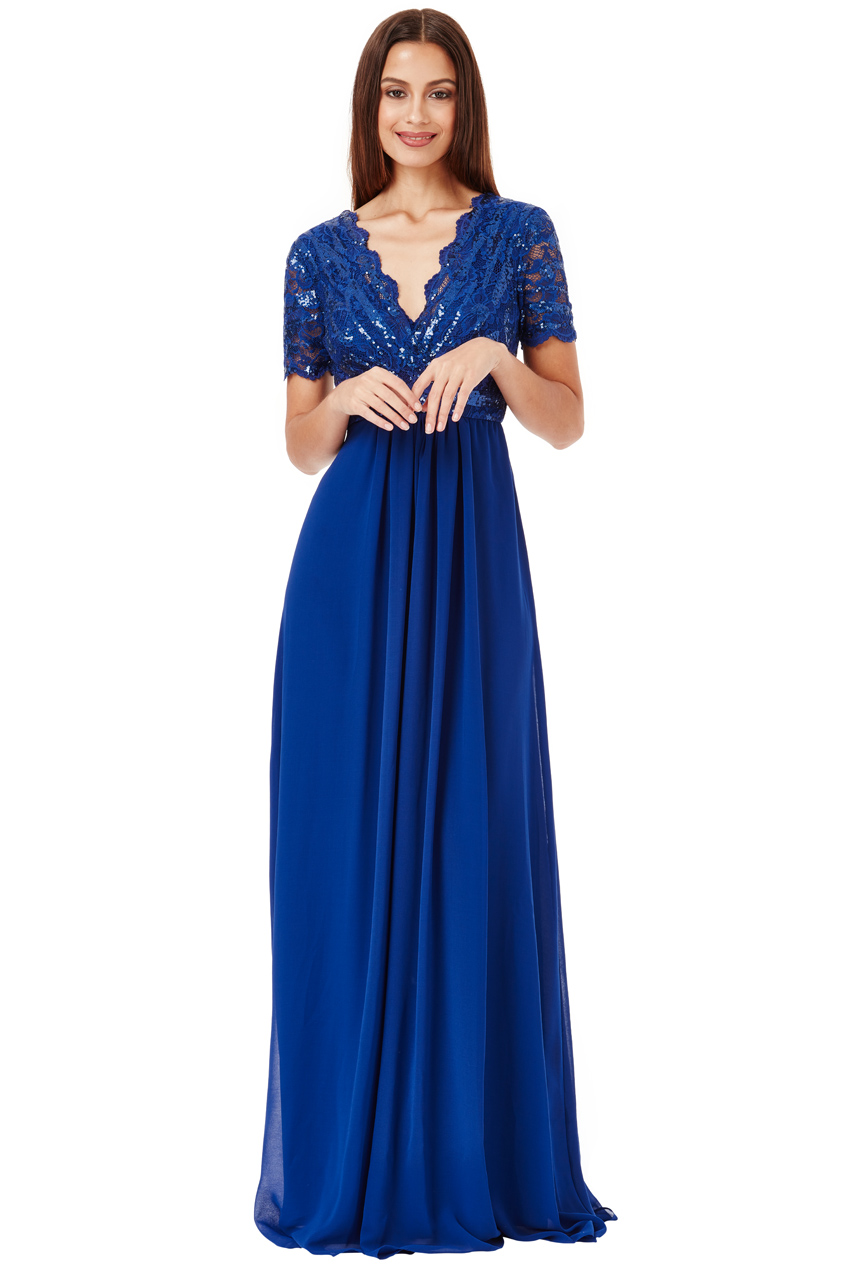 Wholesale Sequin Chiffon Maxi Dress