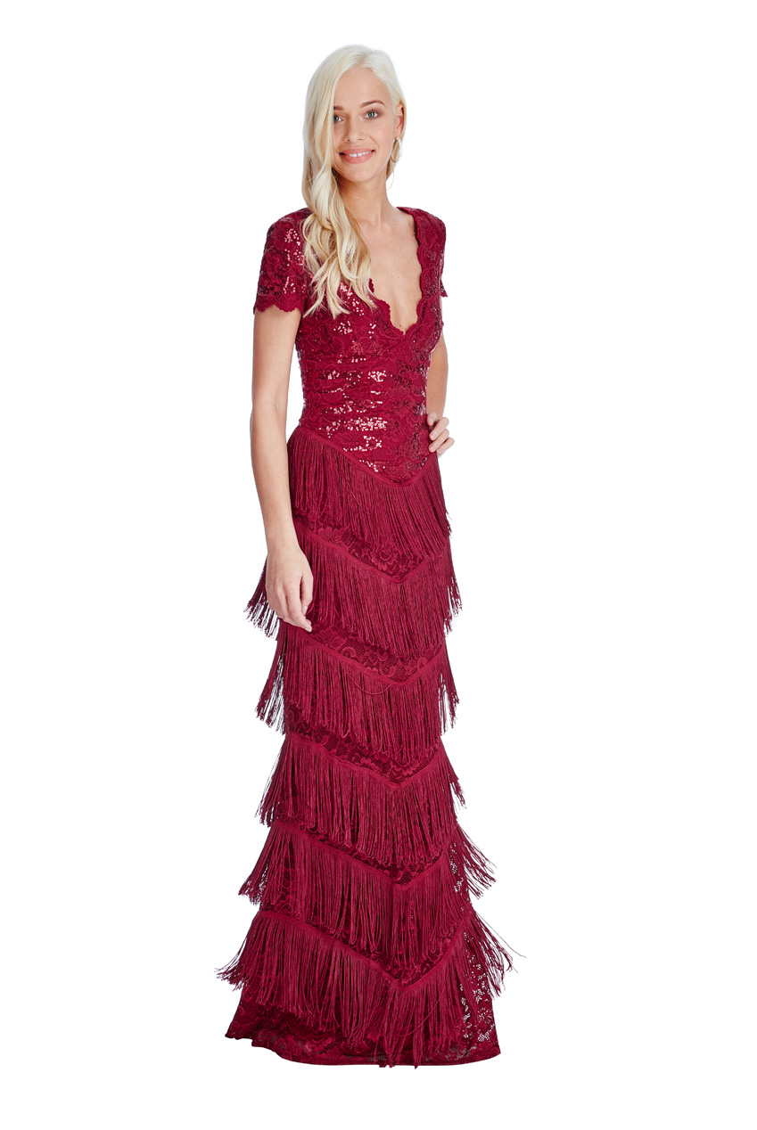 Wholesale Sequin And Fringe Flapper Maxi Dress City Goddess
