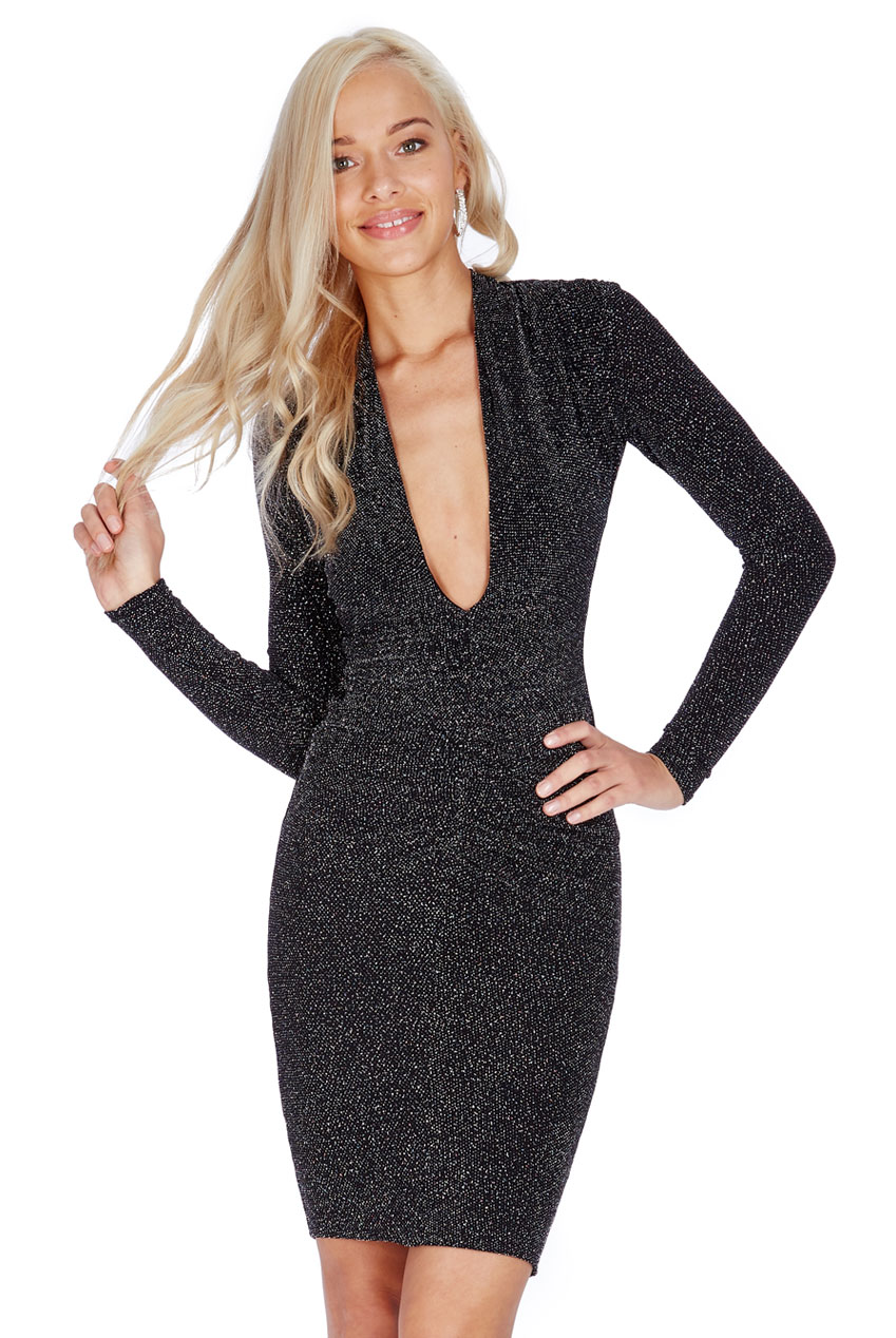 Wholesale Plunge Glitter Midi Dress