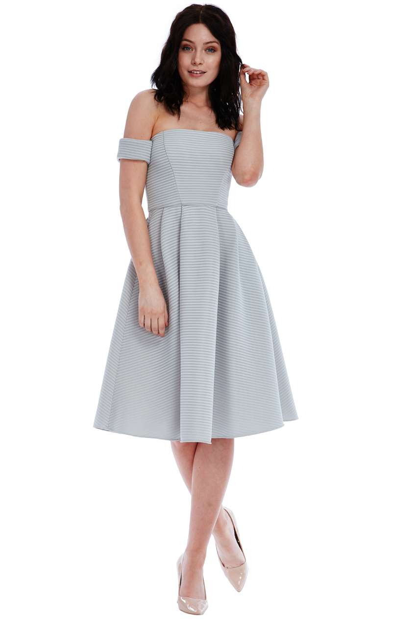 Wholesale Bardot Full Skirt Midi Dress