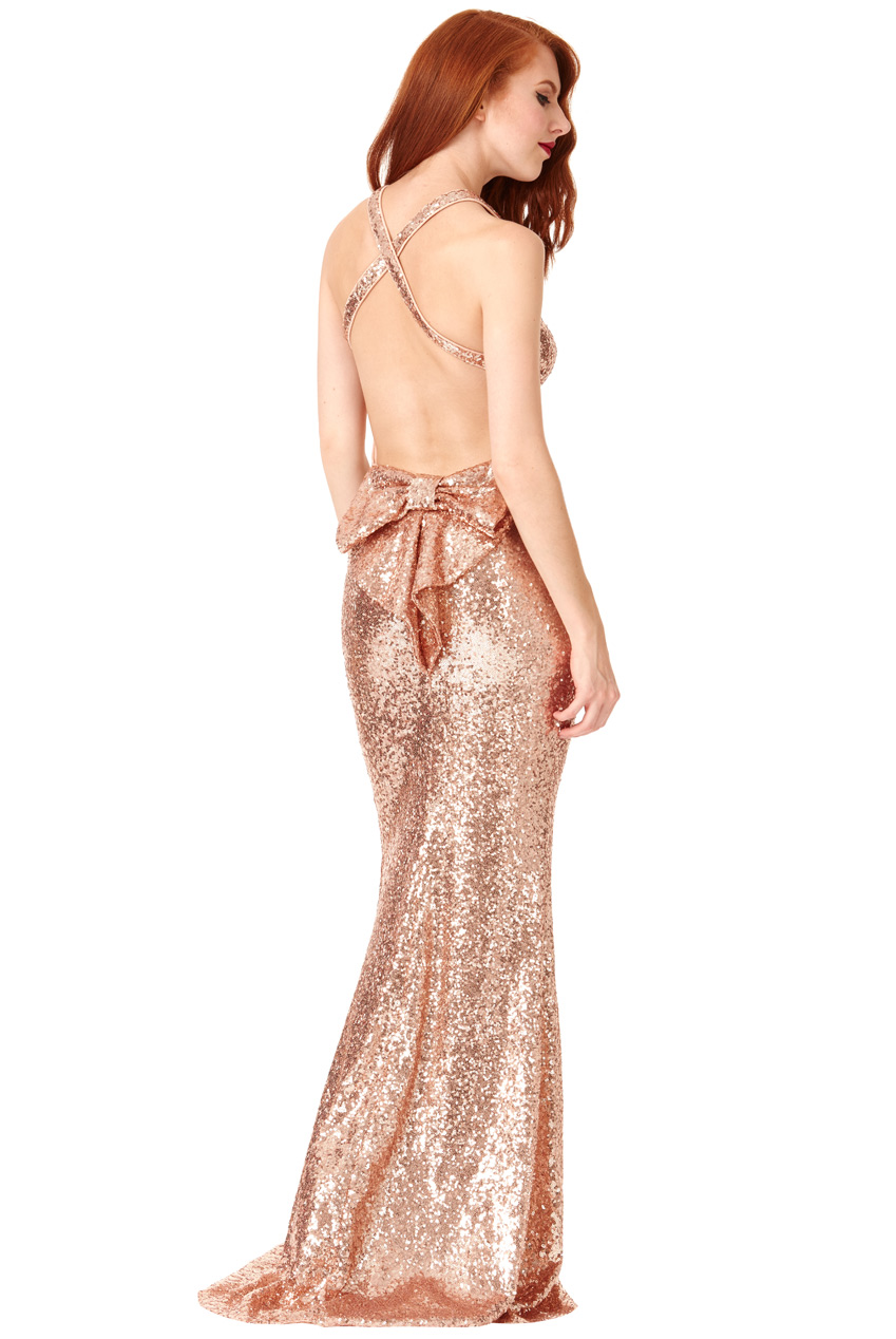 Wholesale Bow Detail Sequin Maxi Dress