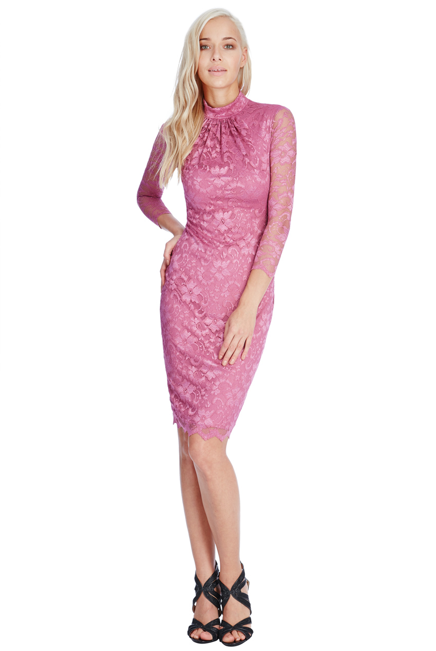 Wholesale High Neck Lace Midi Dress