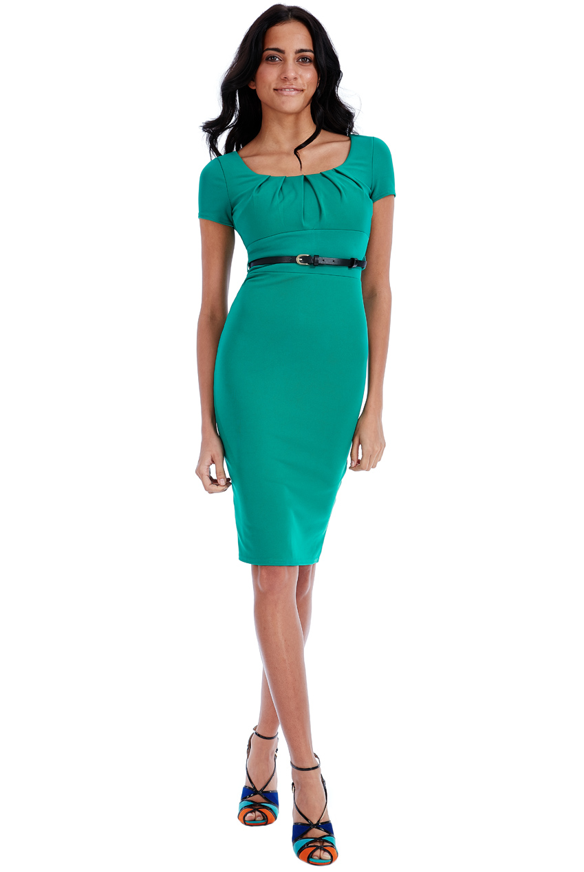 Wholesale Pleated Midi Dress with Belt