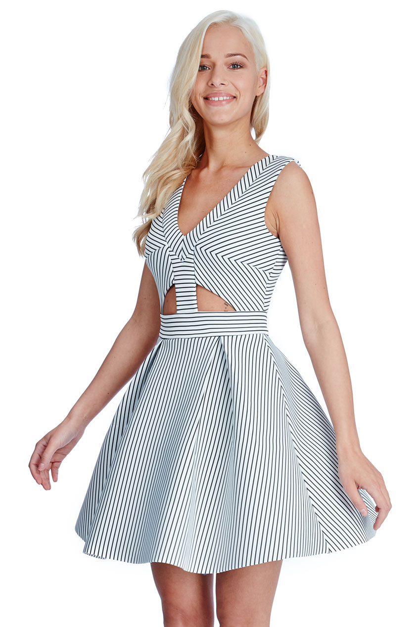 Wholesale Geometric Cut Outs Skater Dress