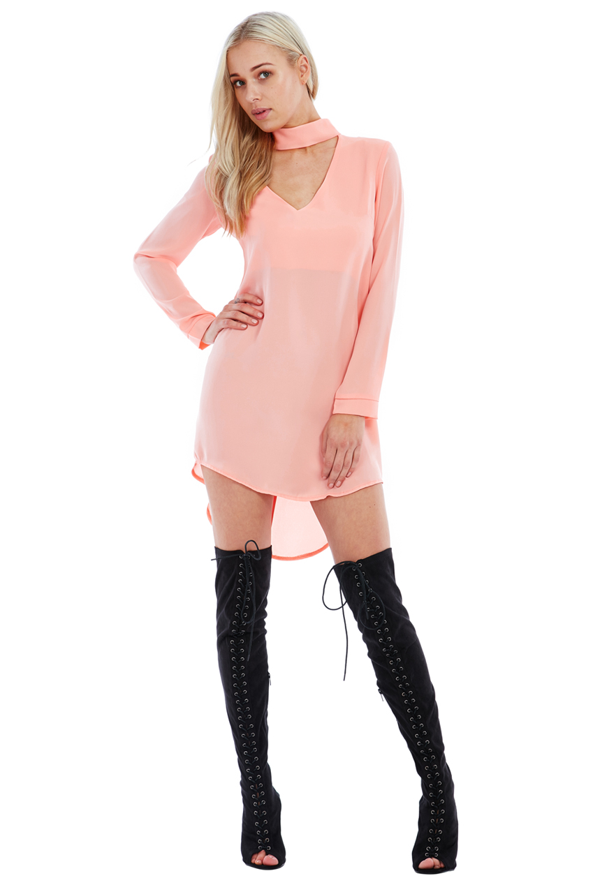 Wholesale Cut Out High Neck Shirt Dress