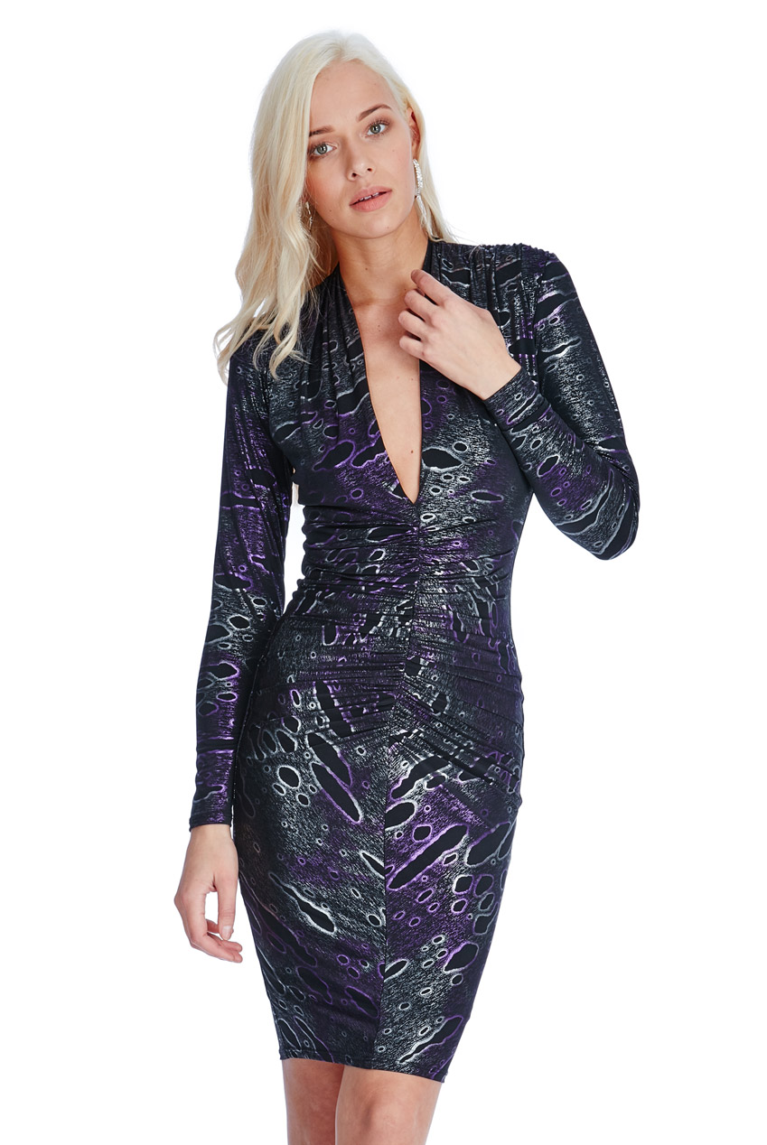 Wholesale Plunge Metallic Midi Dress