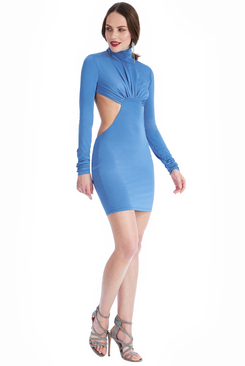 Wholesale Long Sleeved Open Back Mini Dress