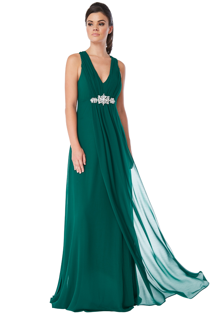 Wholesale V Neck Embellished Maxi Dress