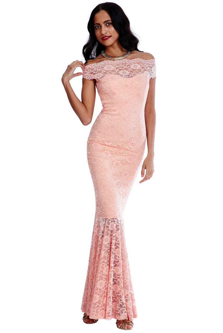 Wholesale Bardot Lace Maxi Dress