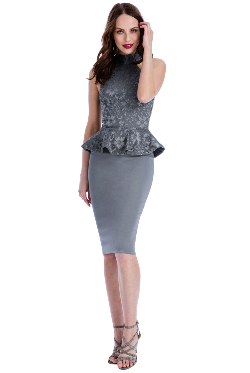 Wholesale Halter Neck Peplum Midi Dress
