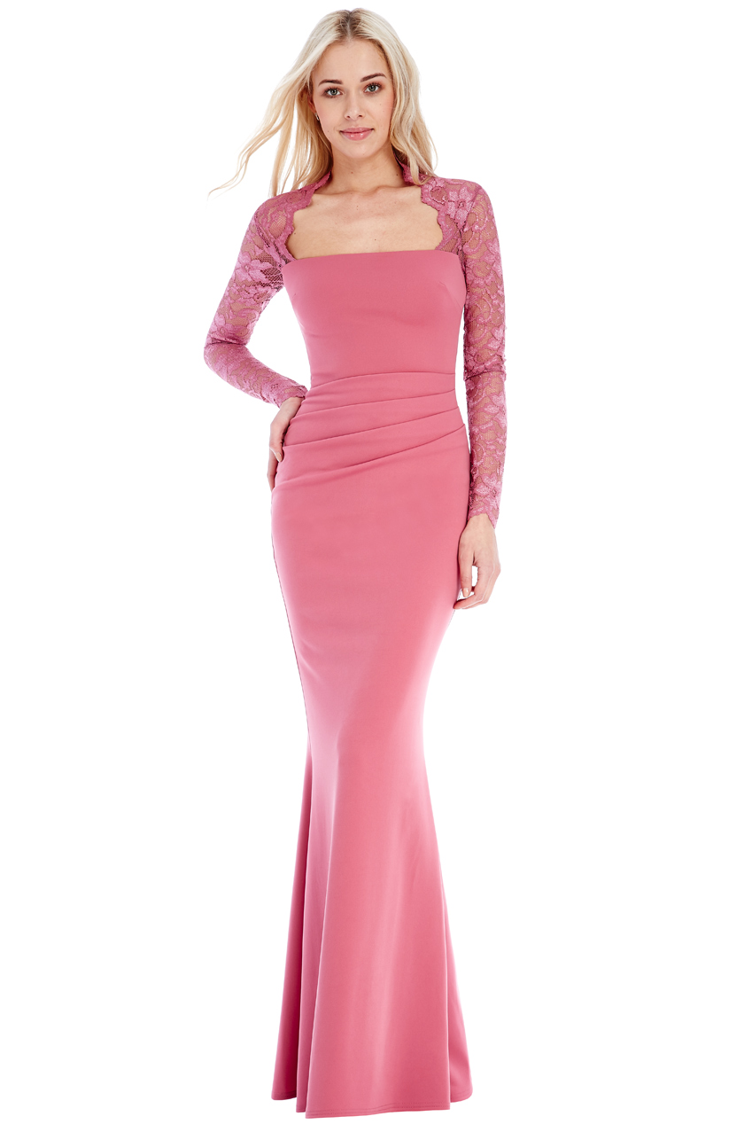 Wholesale Square Neckline Long Sleeved Maxi Dress