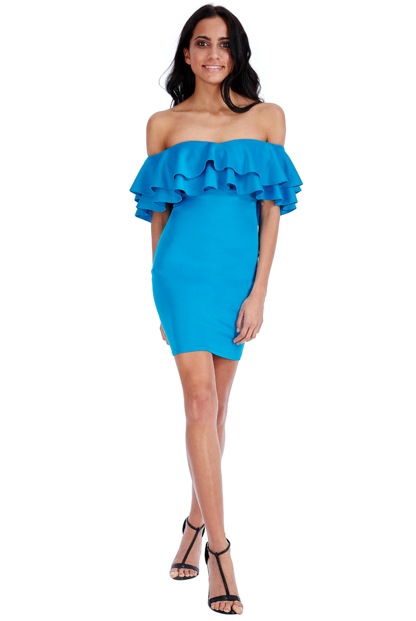 Wholesale Ruffle Bardot Mini Dress