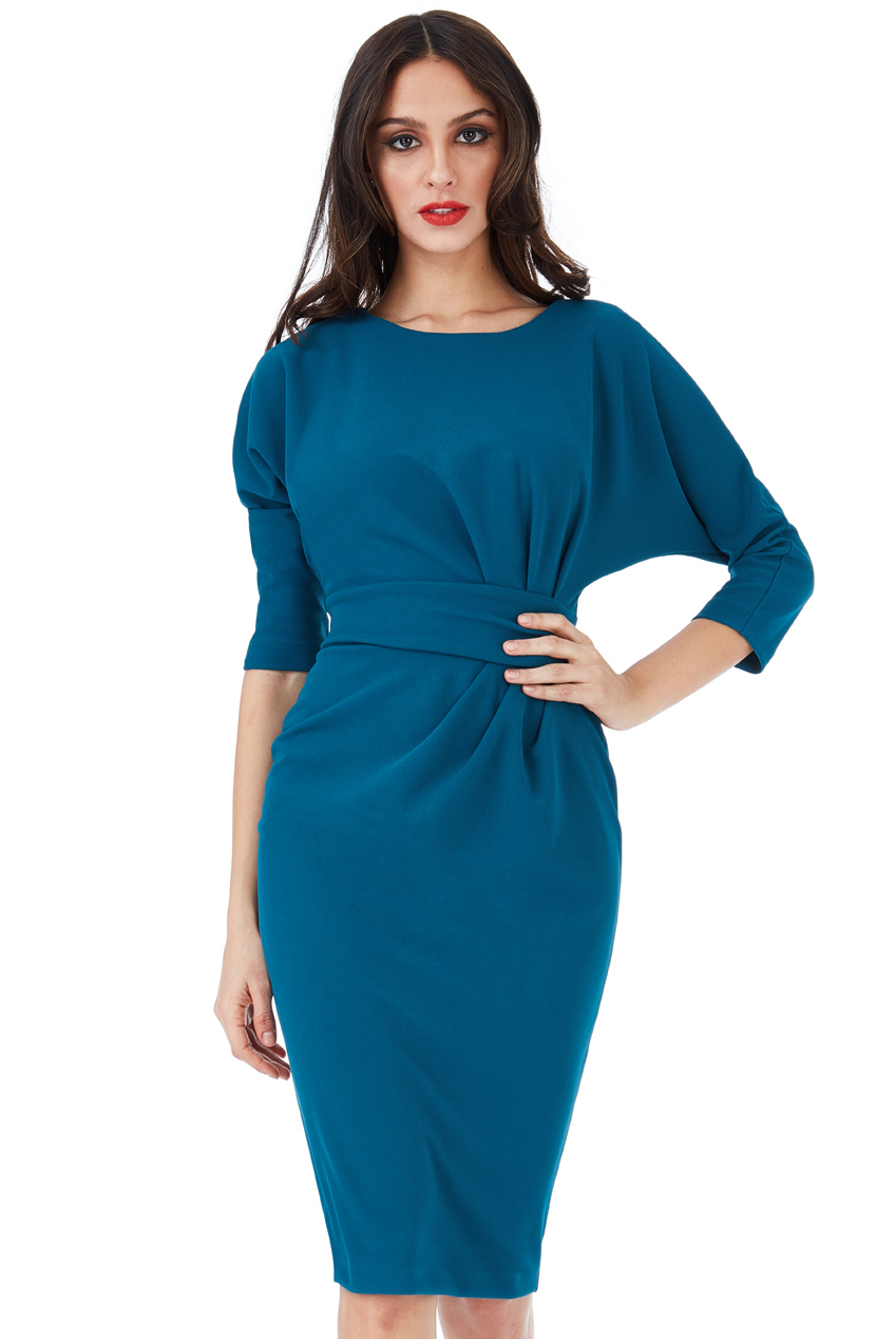 Wholesale Three Quarter Sleeved Midi Dress with Side Pleating Detail