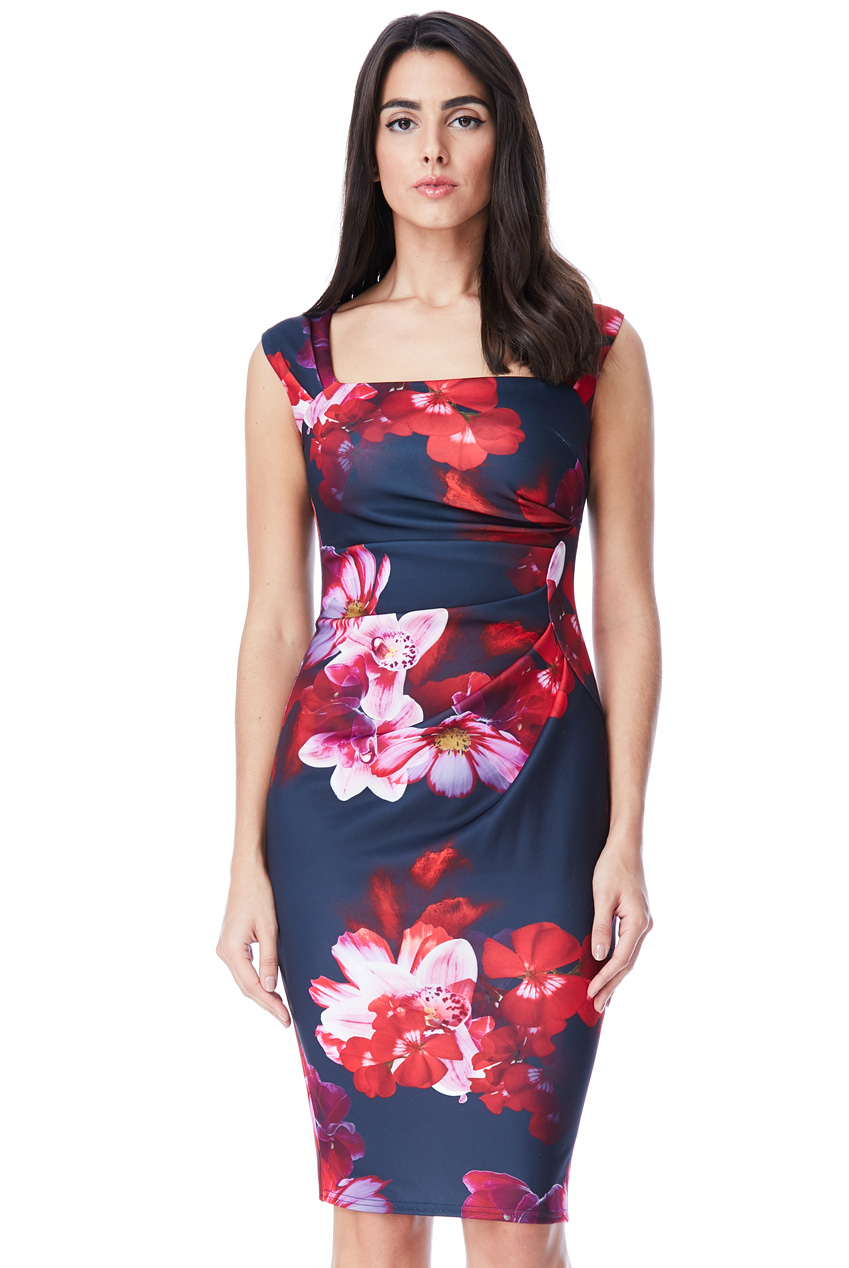 Wholesale Plus Size Floral Print Midi Dress