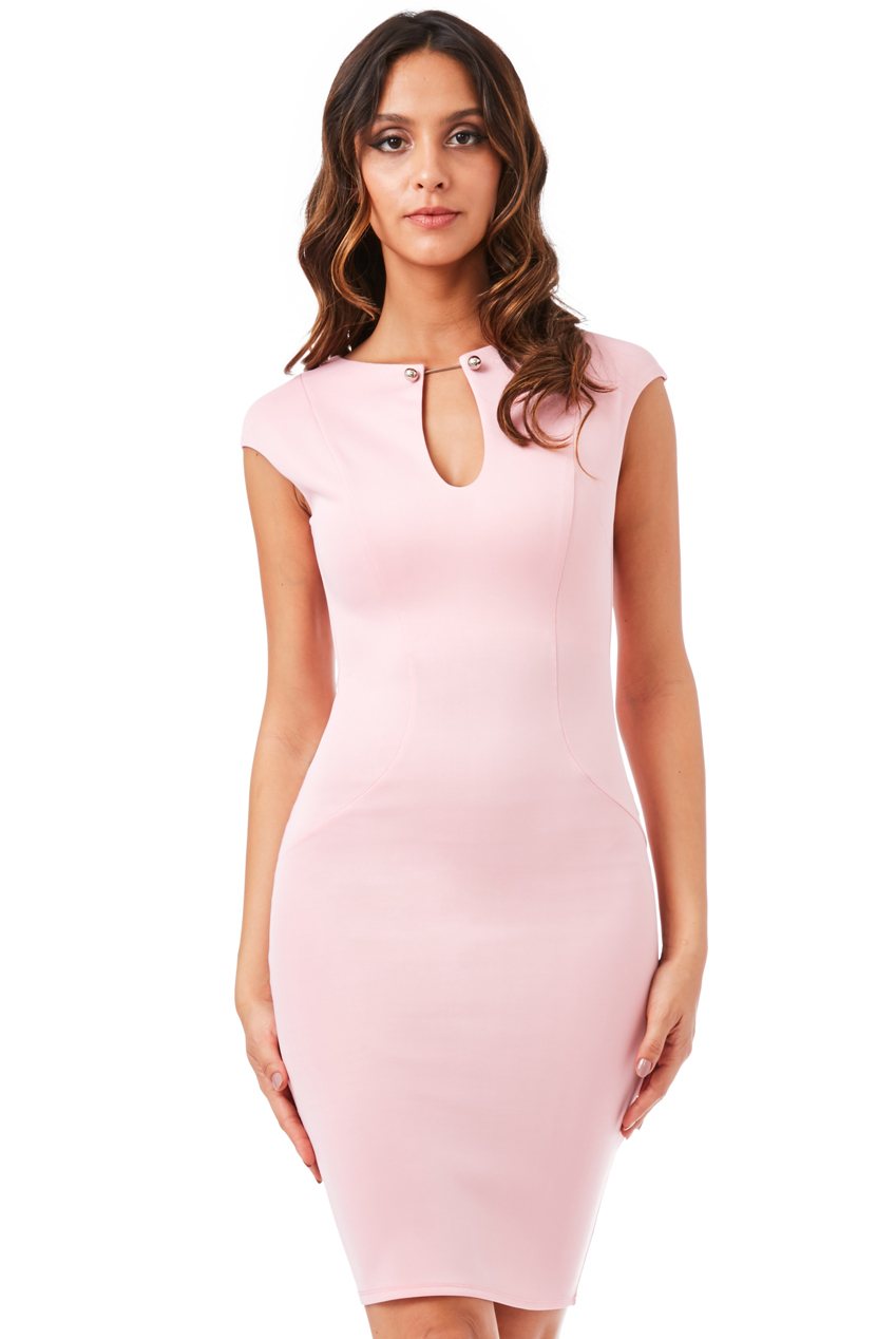 Wholesale Keyhole Fitted Midi Dress with Metal Bar Detail