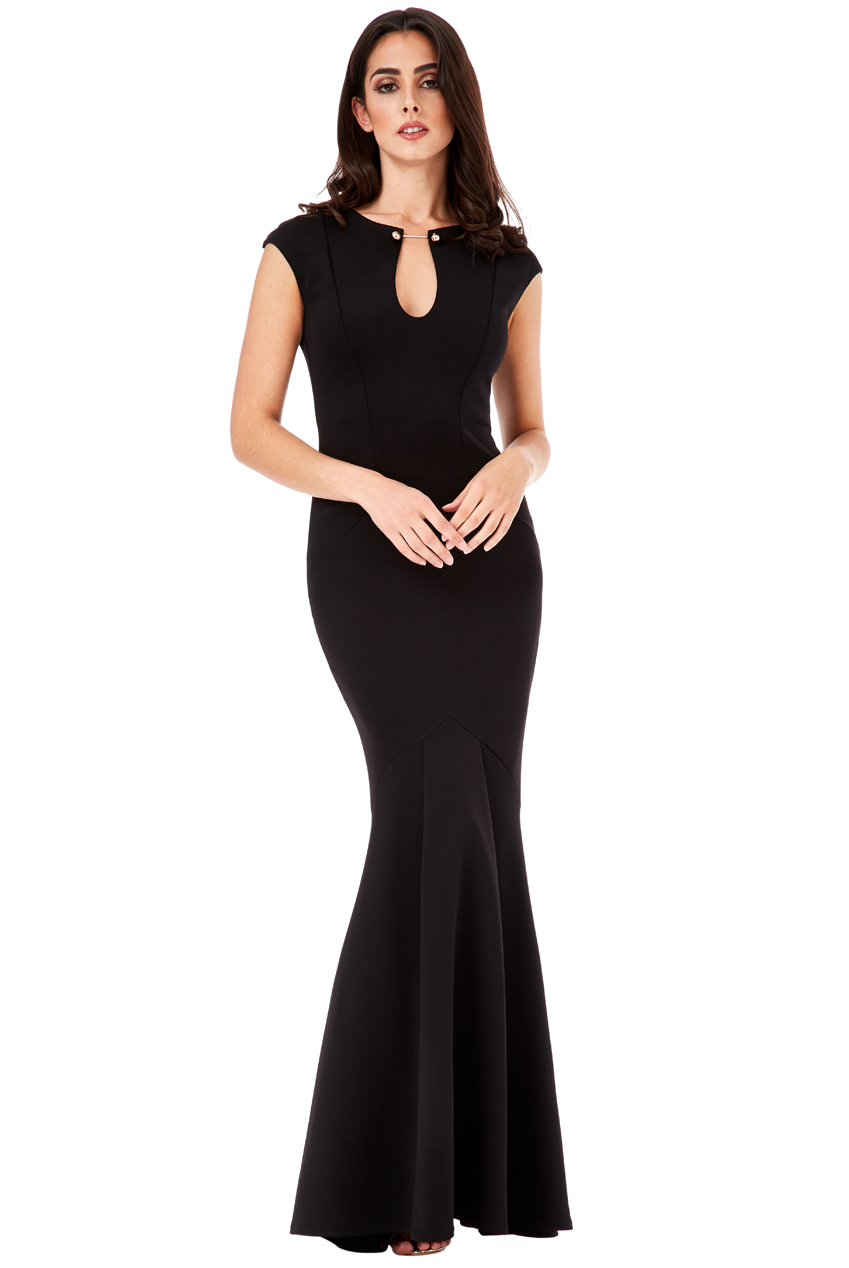 Wholesale Keyhole Fishtail Maxi Dress with Metal Bar Detail