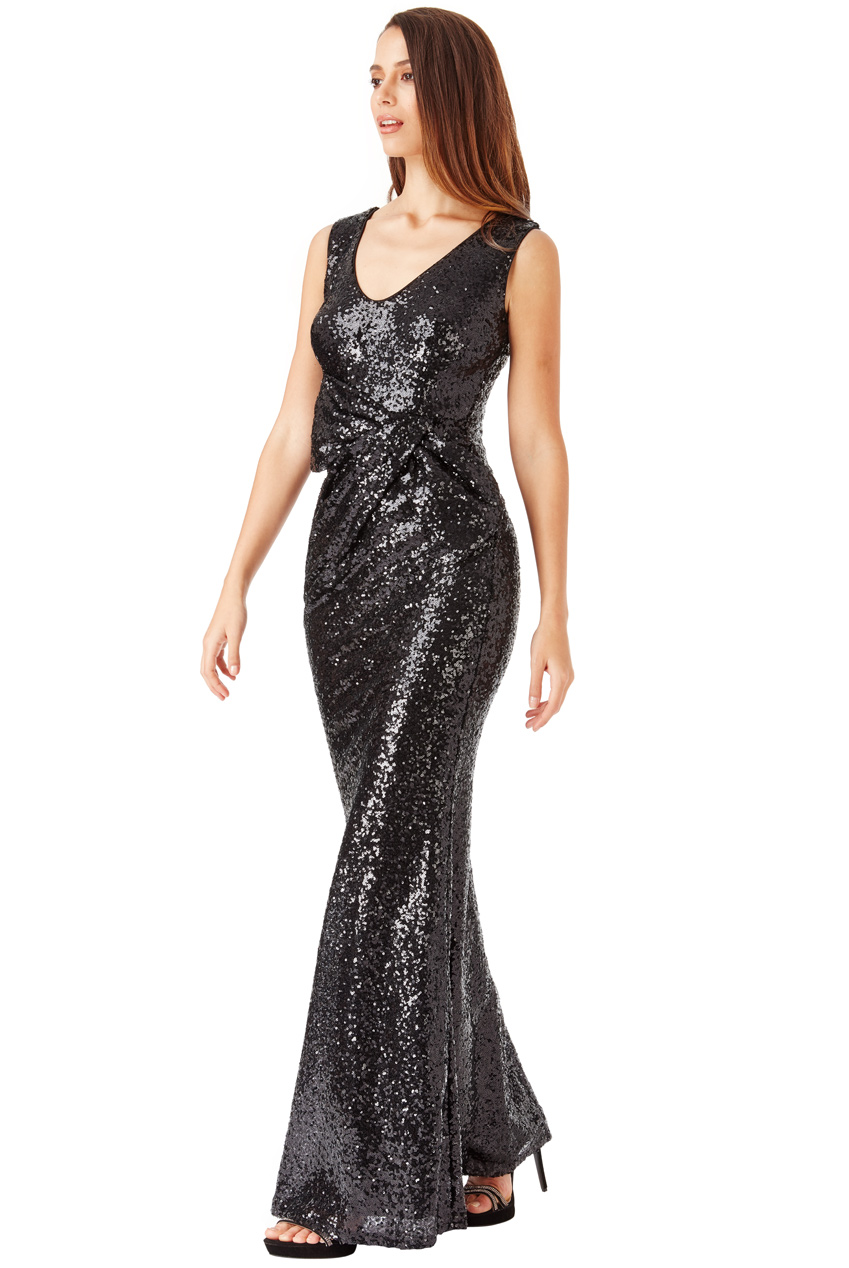 Wholesale V Neck Sequin Maxi Dress with Bow Detail