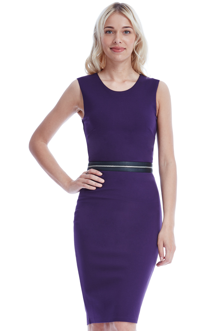 Wholesale Sleeveless Fitted Midi Dress with Zip Detail