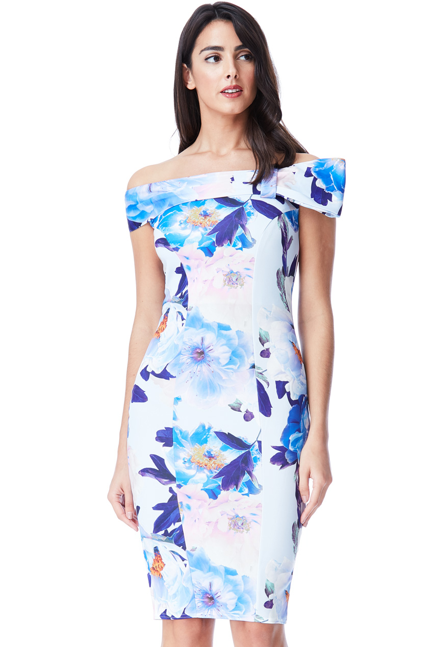 Wholesale Bardot Floral Print Midi Dress with Bow Detail