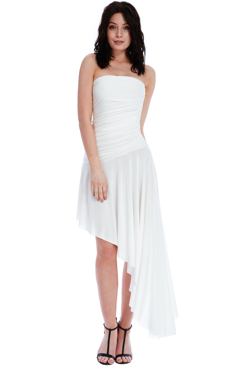 Wholesale Strapless Asymmetric Ruched Maxi Dress