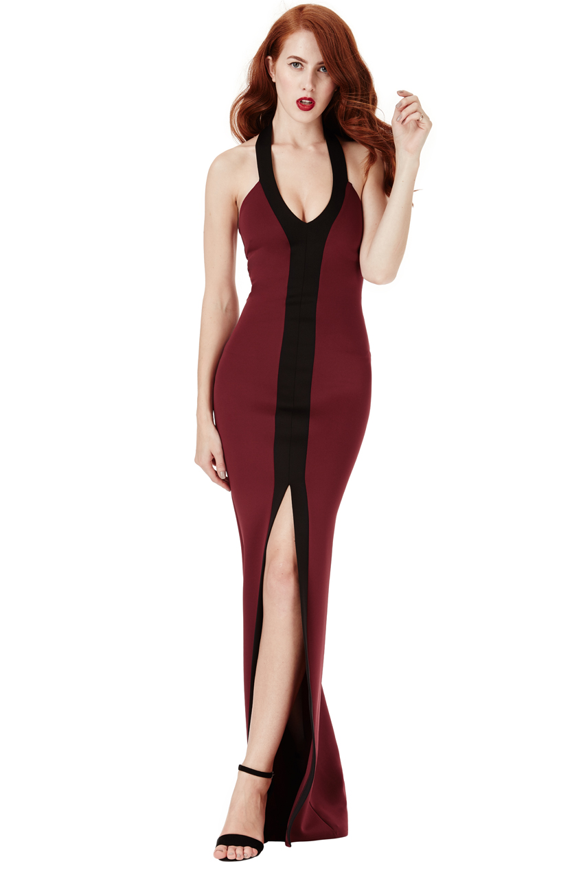Wholesale Halter Neck Contrast Maxi Dress with Split Detail