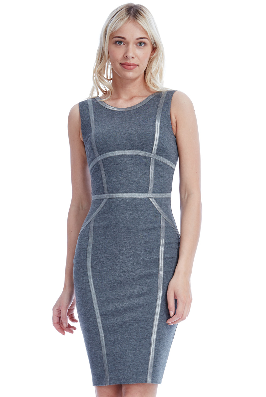 Wholesale Bodycon Midi Dress with Line Detail