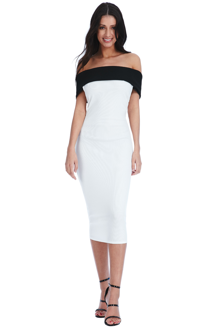 Wholesale Multi Way Bardot Neckline Midi Dress
