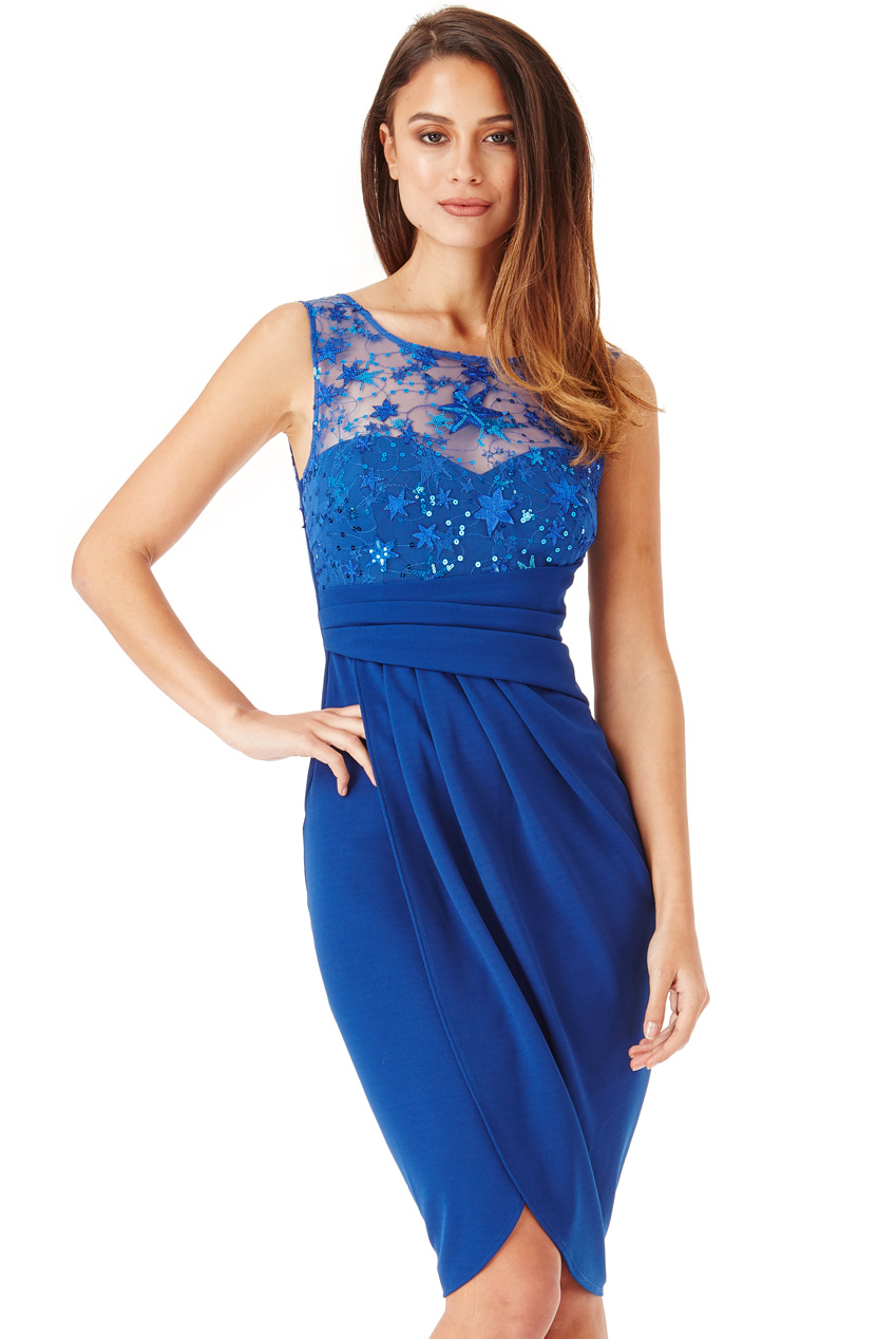 Wholesale Star Embellished Midi Dress with Split Detail