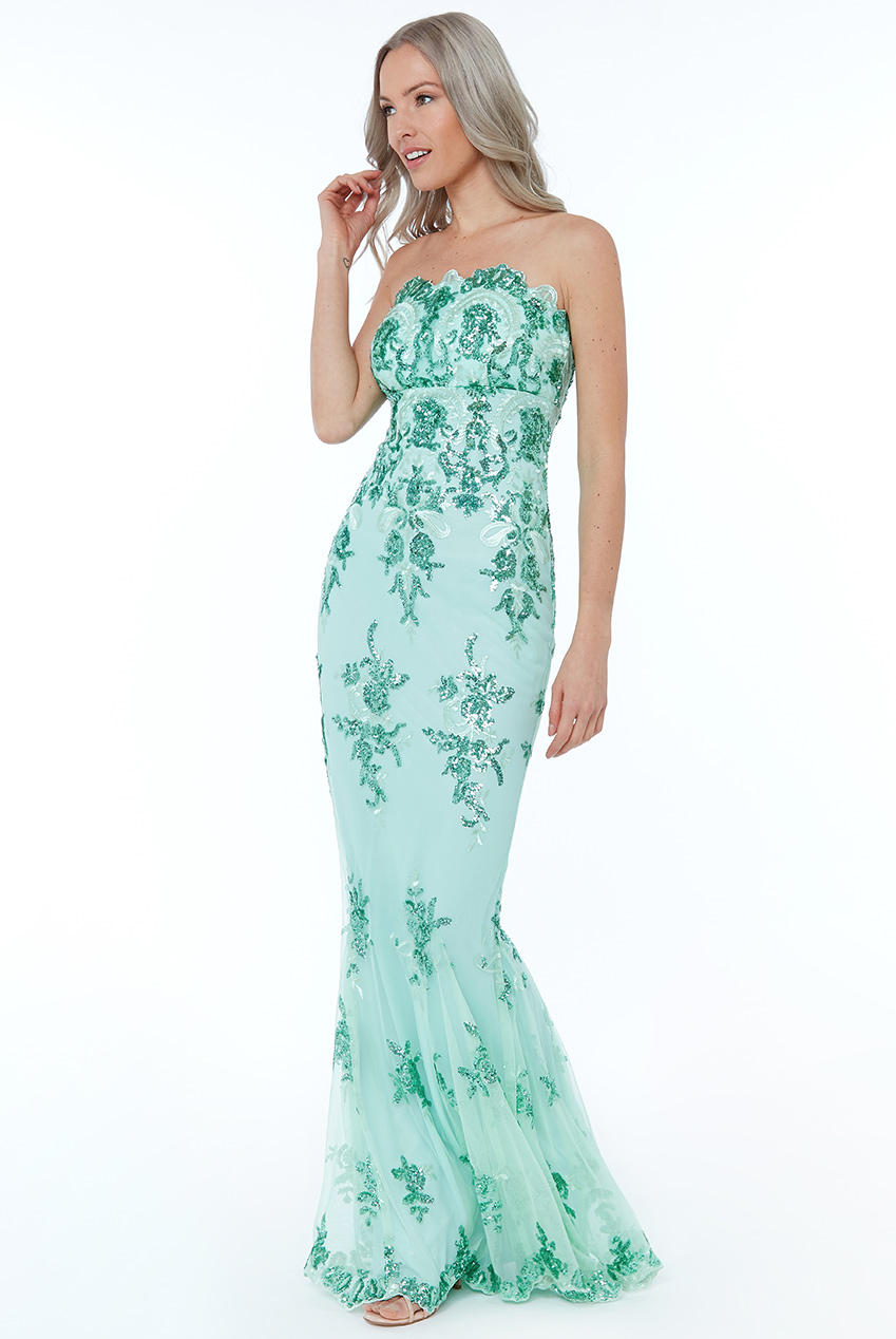 Wholesale Strapless Sequin Embroidered Maxi Dress